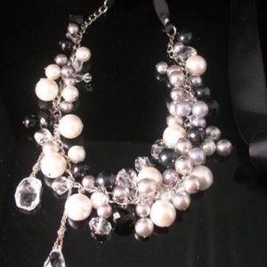 STUNNING pearl onyx Swarovski statement necklace